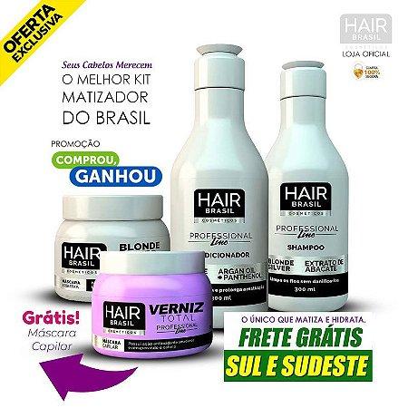 Kit Matizador Hair Brasil Blonde Silver (Shampoo + Condicionador + Máscara )+ Brinde Grátis.