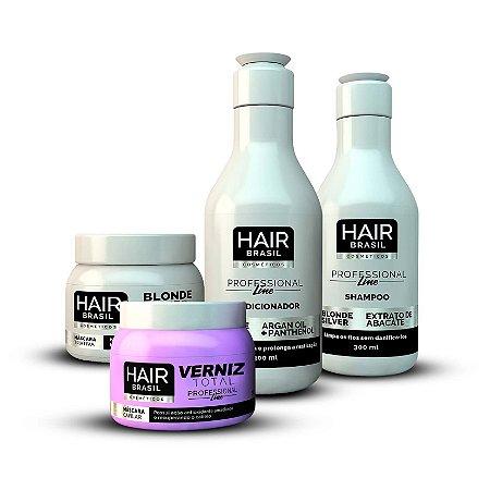 Kit Matizador Blonde Silver (Shampoo + Condicionador + Máscara ) + Máscara Verniz Total.