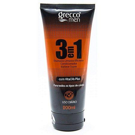 Shampoo 3 em 1 Grecco Men 200ml