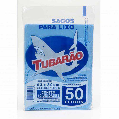 Saco de Lixo Tubarão 50 litros 10un