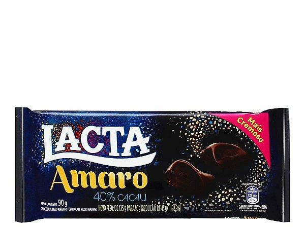 Chocolate Lacta Amaro 40% Cacau barra 90g
