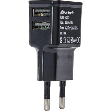 Carregador de energia USB 2 Portas 2,1A (Carga rápida) Fortrek