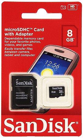 Cartão Memória 8Gb Micro SD/SD SanDisk 7 anos de garantia