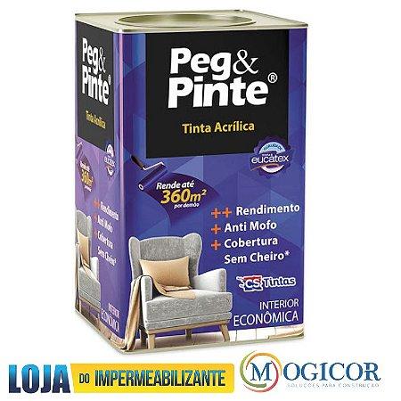 TINTA ACRÍLICA PEG & PINTE EUCATEX 18 litros BRANCO NEVE - www.lojadoimpermeabilizante.com.br