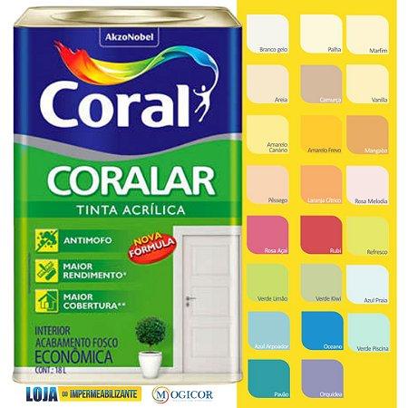 Tinta Acrílica Coralar Econômica Branco 18L Coral - www.lojadoimpermeabilizante.com.br
