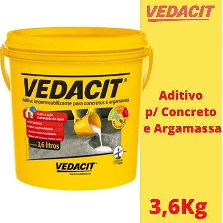 Vedacit 3,6Kg Aditivo Redutor Pastoso para Concreto e Argamassa - www.lojadoimpermeabilizante.com.br