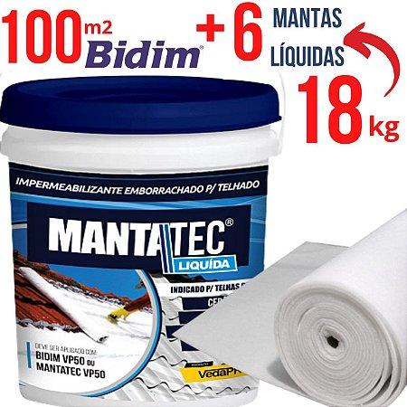 KIT 6 baldes Manta liquída 18kg + 100 mt² Tecido Bidim VP50  - www.lojadoimpermeabilizante.com.br