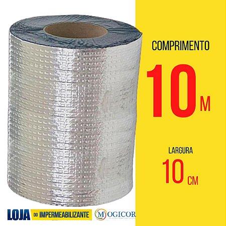 Fita Adesiva Aluminizada Manta Asfáltica 10cm x 10m- www.lojadoimpermeabilizante.com.br