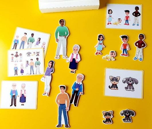 kit peças magnéticas pessoas e animais domésticos
