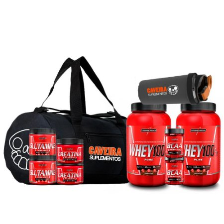 KIT DUPLO 2.0 - 1X MALA EXCLUSIVA CAVEIRA + 2X WHEY 100% + 2X GLUTAMINA 150G + 2X CREATINA 150G + 2X BCAA 90CAPS