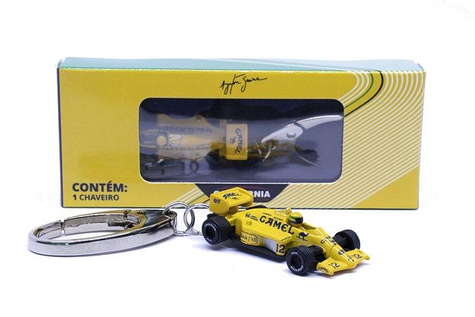 Chaveiro Ayrton Senna 1987 Lotus 99T Amarela