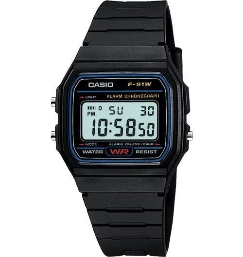 relogio Casio Vintage Retro F-91W borracha