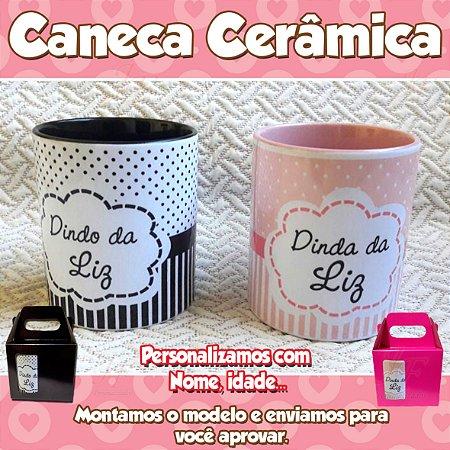 01 Caneca em Cerâmica 350 ml Personalizada Madrinha Padrinho Dindo Dinda