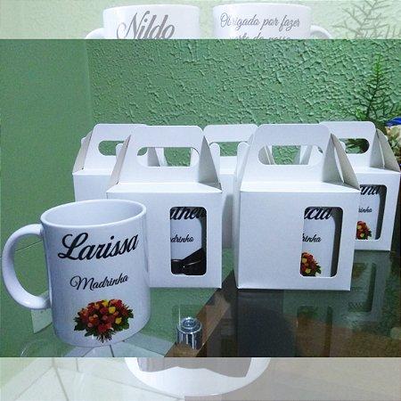 Kit com 10 Canecas em Cerâmica Branca 350 ml Personalizadas