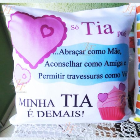 Linda Almofada Tia ou Tio! 30 X 30 cm_com enchimento e Zíper