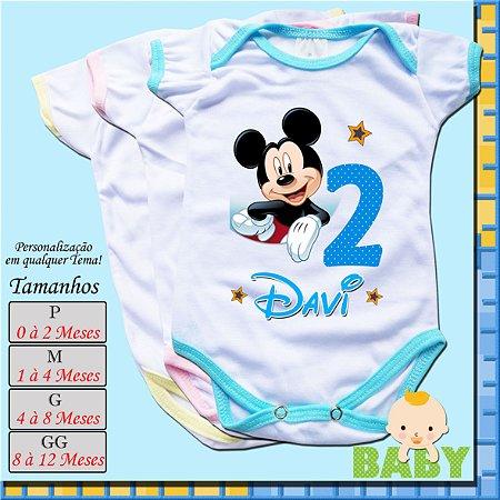Kit com 12 Body Bebê Infantil Personalizado_Mêsversário