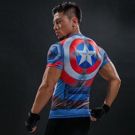 Camiseta Capitão América com Escudo 3D Compressão Masculino Top - Manga  Curta 7c2b3f14ce883