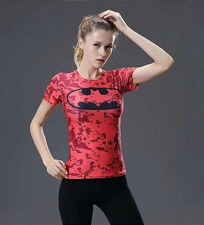 94e0998c78700 Camiseta Batman Pink TOP Respirável Feminina Compressão Fitness Esportes