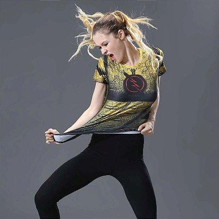 2316979c33cfb Camiseta Flash Amarela TOP Respirável Feminina Compressão Fitness Esportes