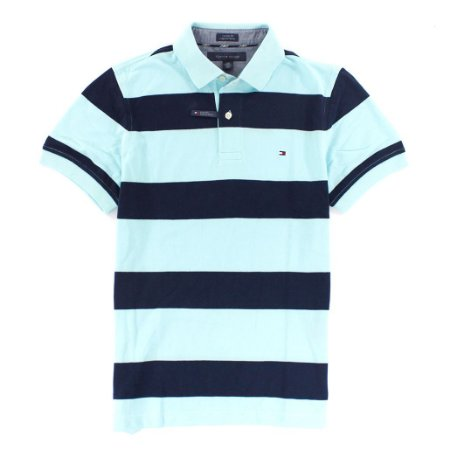 Polo Tommy Hilfiger Masculina Stripe Custom Fit - Turquoise & Navy