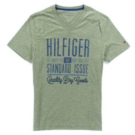 Camiseta Tommy Hilfiger Masculina V-Neck Tee - Light Heather Green