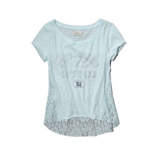 Camiseta Abercrombie & Fitch Feminina Jane Lace Tee - Turquoise