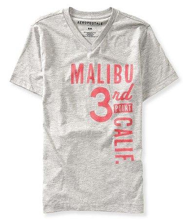 Camiseta Aéropostale Masculina Malibu Graphic V-Neck - Heather Grey