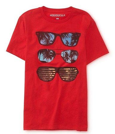 Camiseta Aéropostale Masculina Sunglasse Graphic - Red Dare