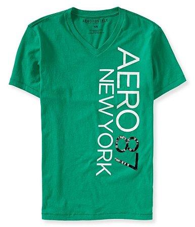 Camiseta Aéropostale Masculina NY V-Neck Graphic - Isle Green