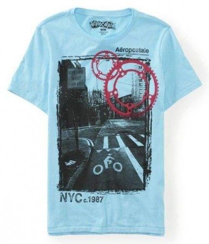 Camiseta Aéropostale Masculina NYC 1987 Street Graphic - Turquoise