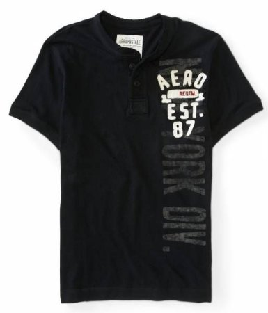 Camiseta Aéropostale Masculina NYC Vertical Henley - Black
