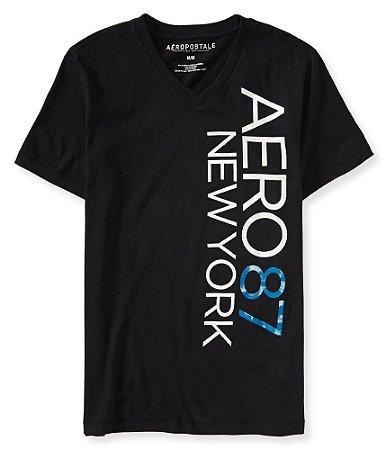 Camiseta Aéropostale Masculina NY V-Neck Graphic - Black