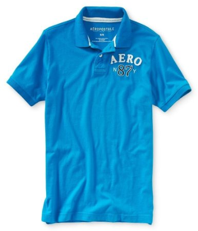Polo Aéropostale Masculina Jersey N87Y Crest - Active Blue
