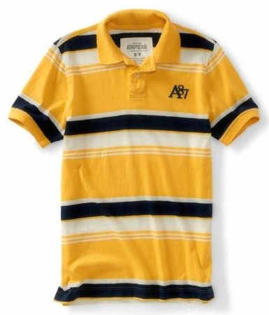 Polo Aéropostale Masculina Multi-Stripe A87 Jersey - Yellow