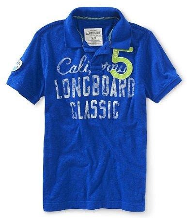 Polo Aéropostale Masculina California Longboard Classic - Blue