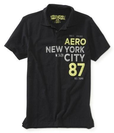 Polo Aéropostale Masculina NYC 87 Jersey - Black