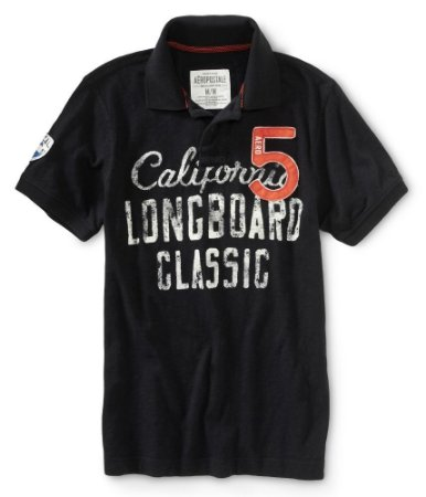 Polo Aéropostale Masculina California Longboard Classic - Black