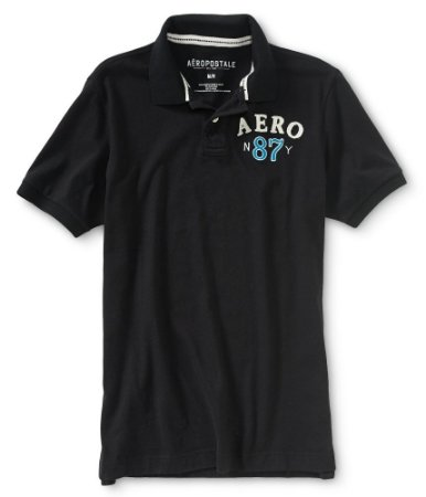 Polo Aéropostale Masculina Jersey N87Y Crest - Black