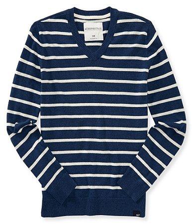 Sweater Aéropostale Masculino V-Neck Striped - Navy