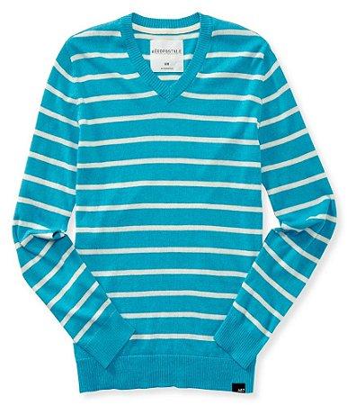 Sweater Aéropostale Masculino V-Neck Striped - Mexicali Blue