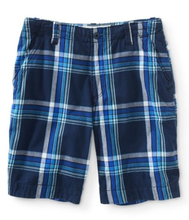 Bermuda Aéropostale Masculina Flat-Front Plaid - Navy Night