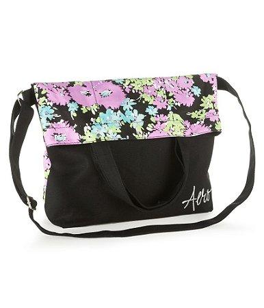Bolsa Aéropostale Feminina Floral Fold-Over Canvas Tote - Black
