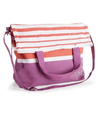 Bolsa Aéropostale Feminina Striped Fold-Over Canvas Tote - Red Purple
