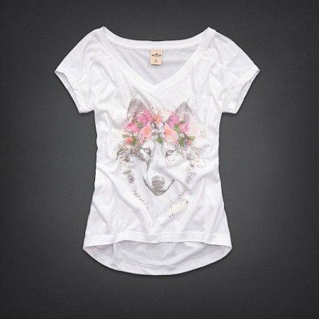 Camiseta Hollister Feminina Wolf Creek - White