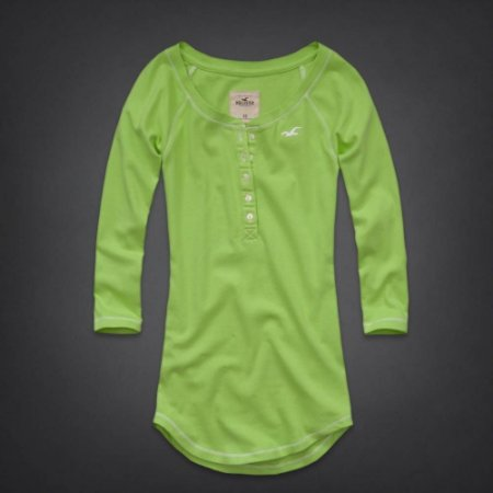 Manga 3/4 Hollister Feminina Monarch Beach Henley - Light Green
