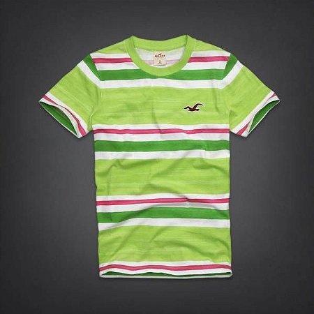 Camiseta Hollister Masculina Coronado Island - Light Green & Pink Stripe