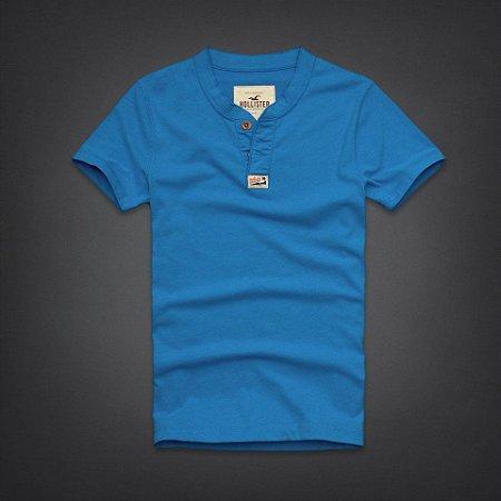 Camiseta Hollister Masculina Rockpile Henley - Turquoise