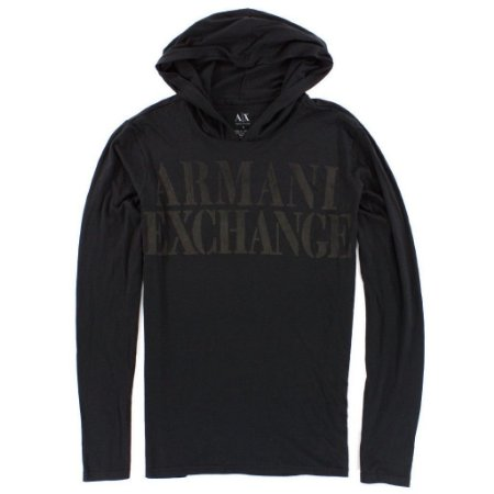 Manga Longa Armani Exchange Masculina Hoodie Long Sleeve Tee - Black