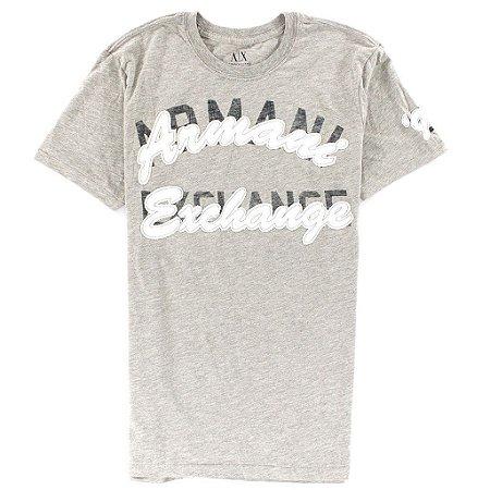 Camiseta Armani Exchange Masculina Logo Write AX Tee - Grey