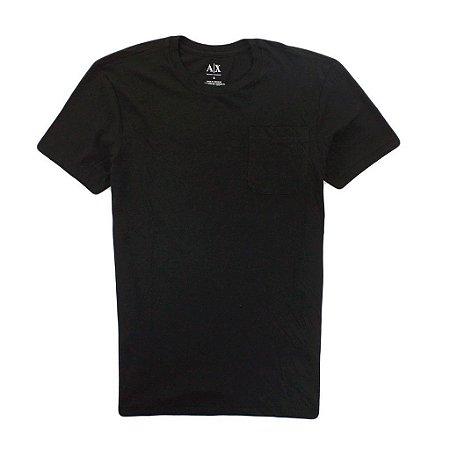 Camiseta Armani Exchange Masculina Pocket Crew Neck Tee - Black
